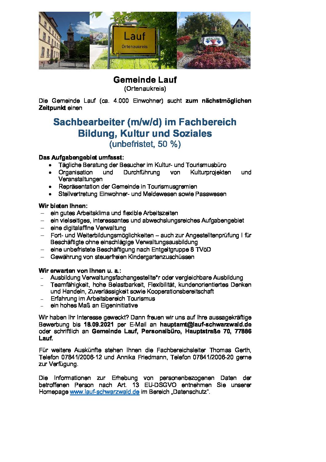 Stellenausschreibung – Sachbearbeiter (m/w/d) im Fachbereich  Bildung, Kultur und Soziales  (unbefristet, 50 %)