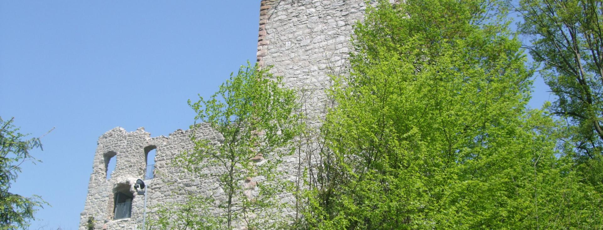 Foto: Burg Neuwindeck, Außenmauern hinter Bäumen