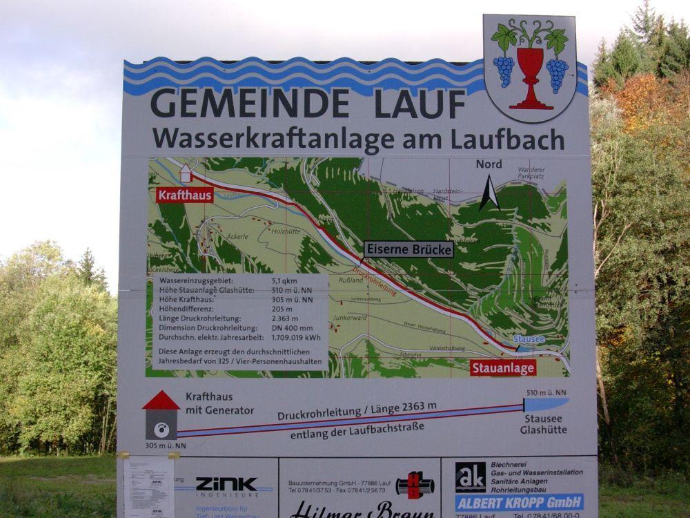 Foto: Schild der Wasserkraftanlage am Laufbach - grafische Darstellung