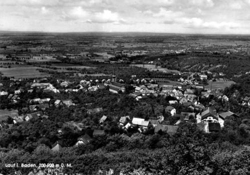 Foto: Historisches Bild von Lauf und der Rheinebene (schwarz-weiß)
